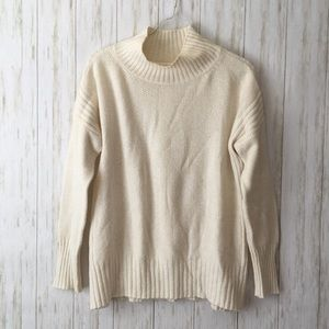 anthropologie Aisla Cream Soft Mock Neck Sweater